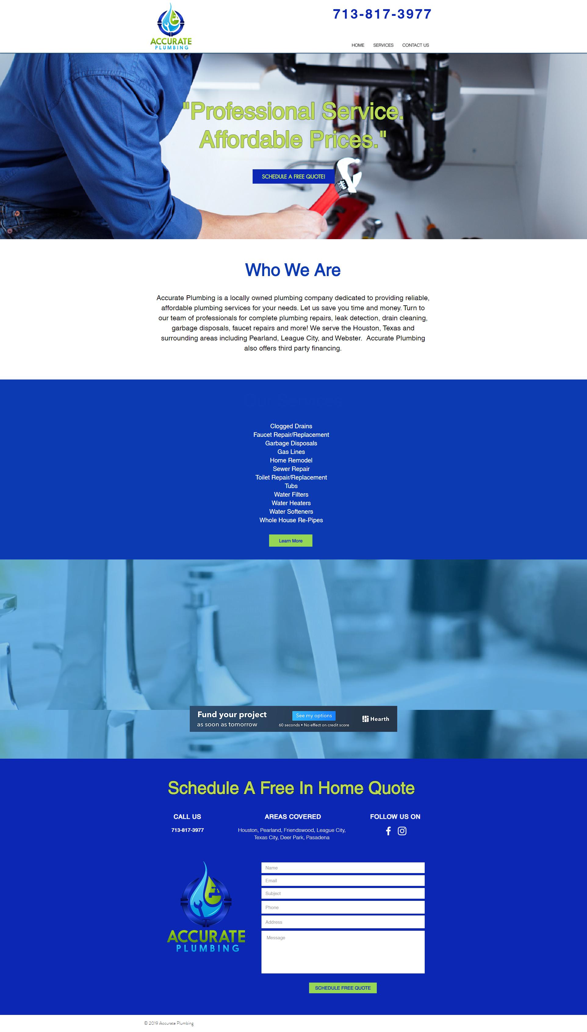 Accurate Plumbing website design