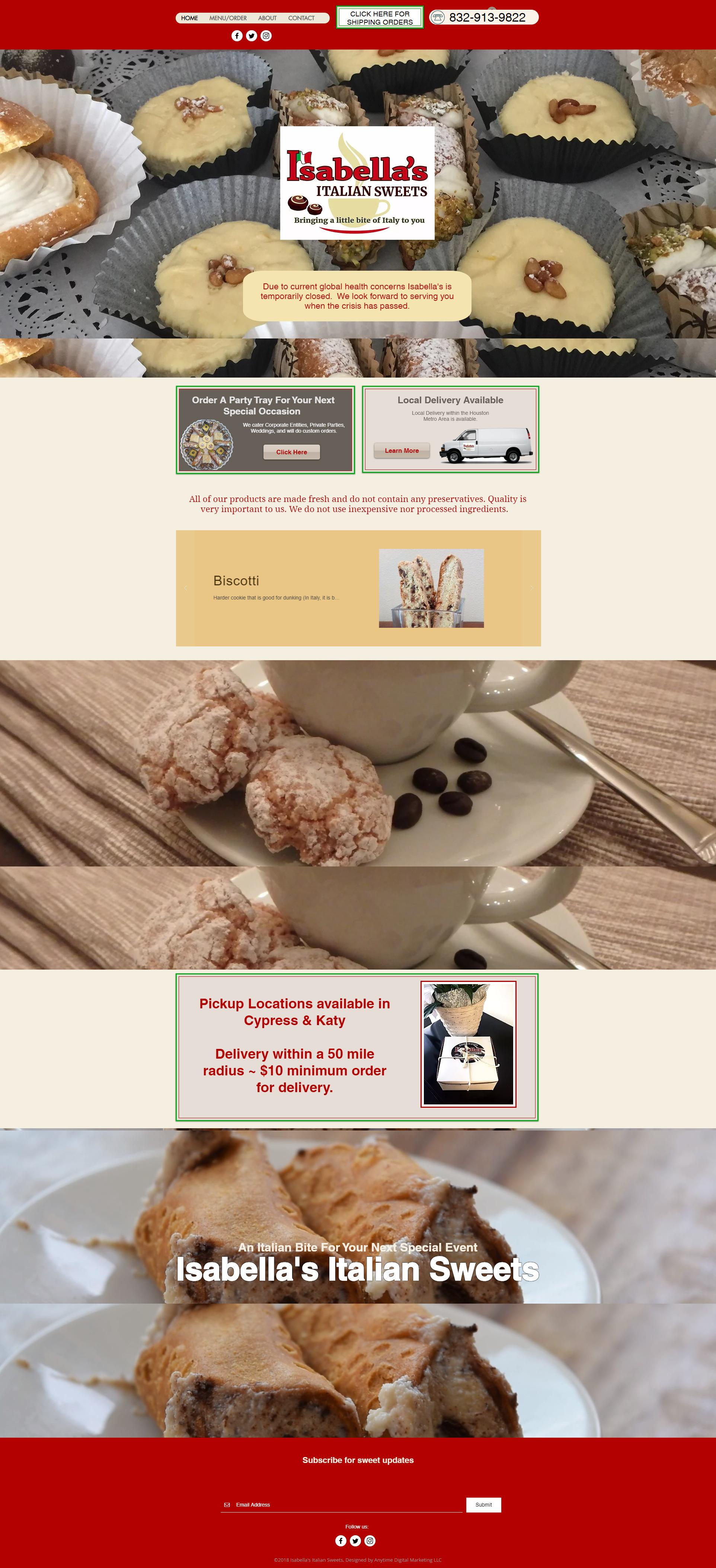 Isabellas Italian Sweets website design