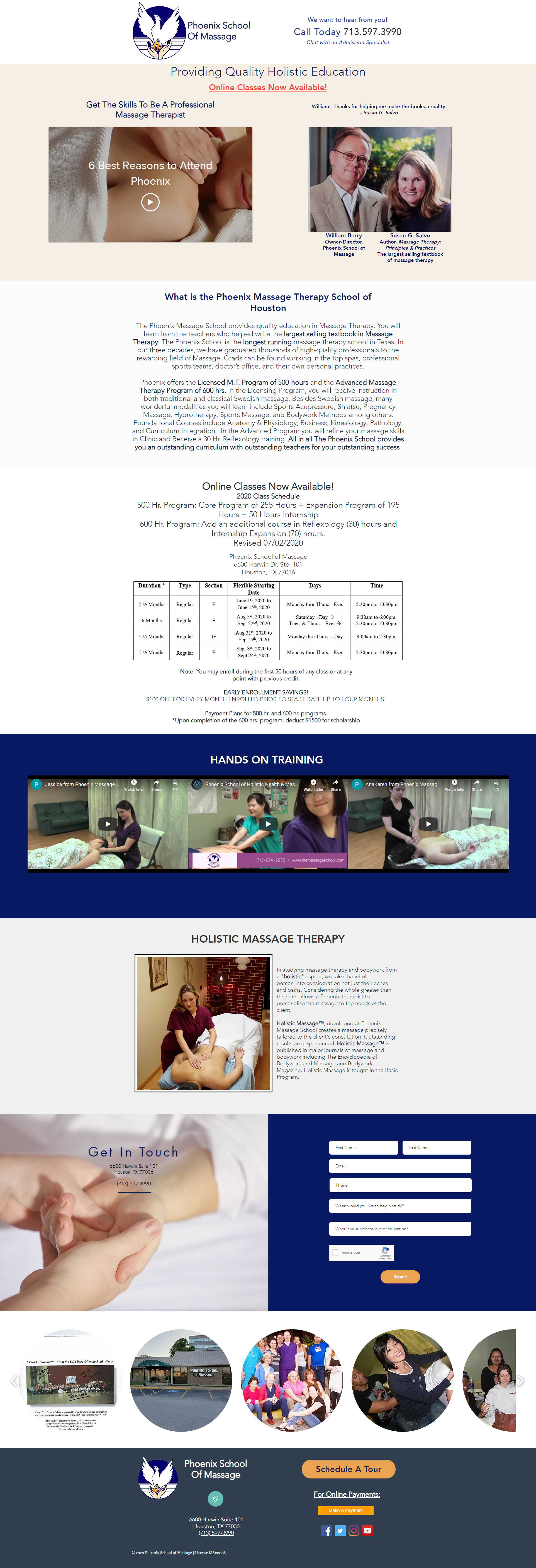 Phoenix School of Massage website design