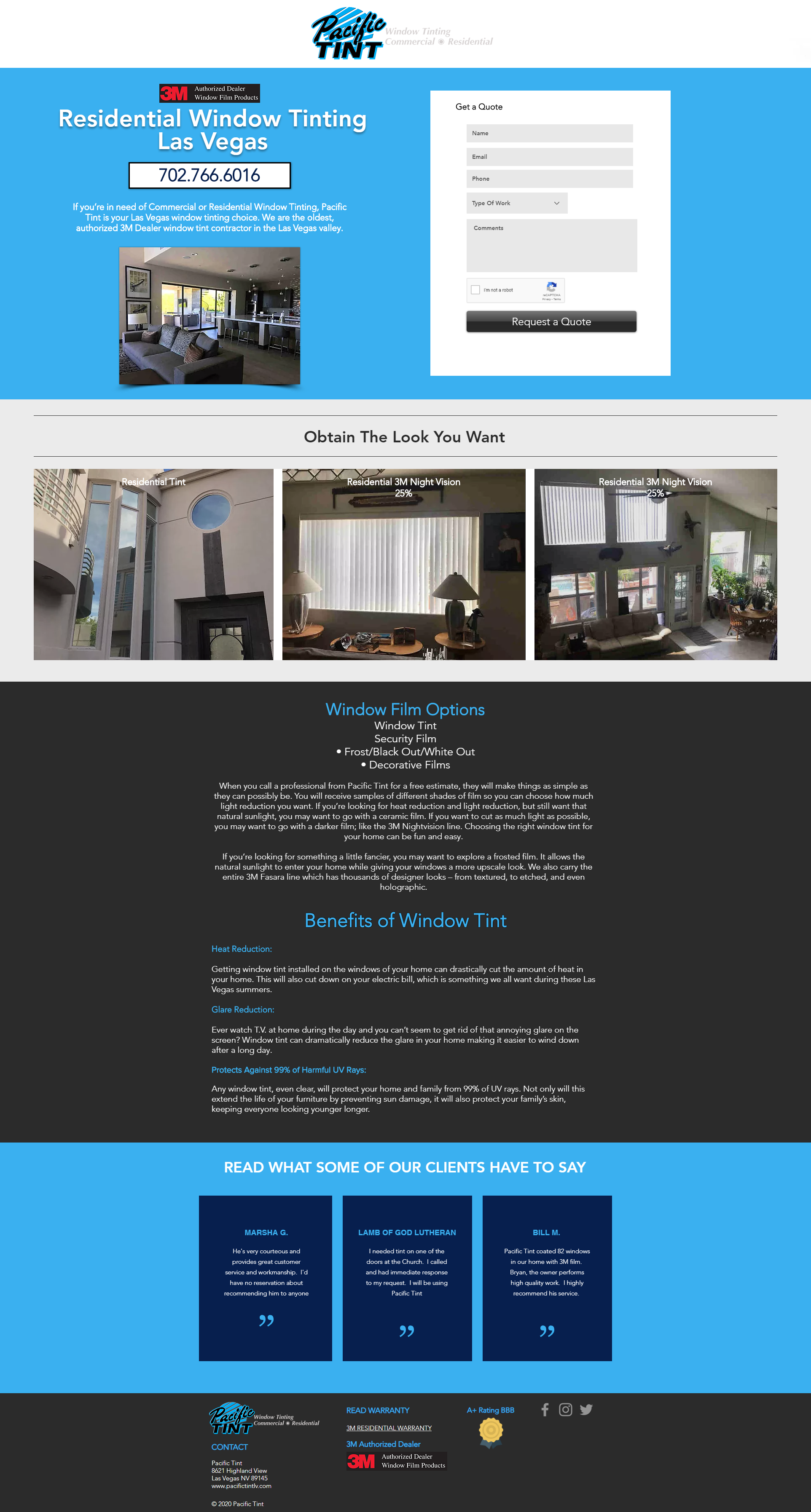 Pacific Tint landing page website design