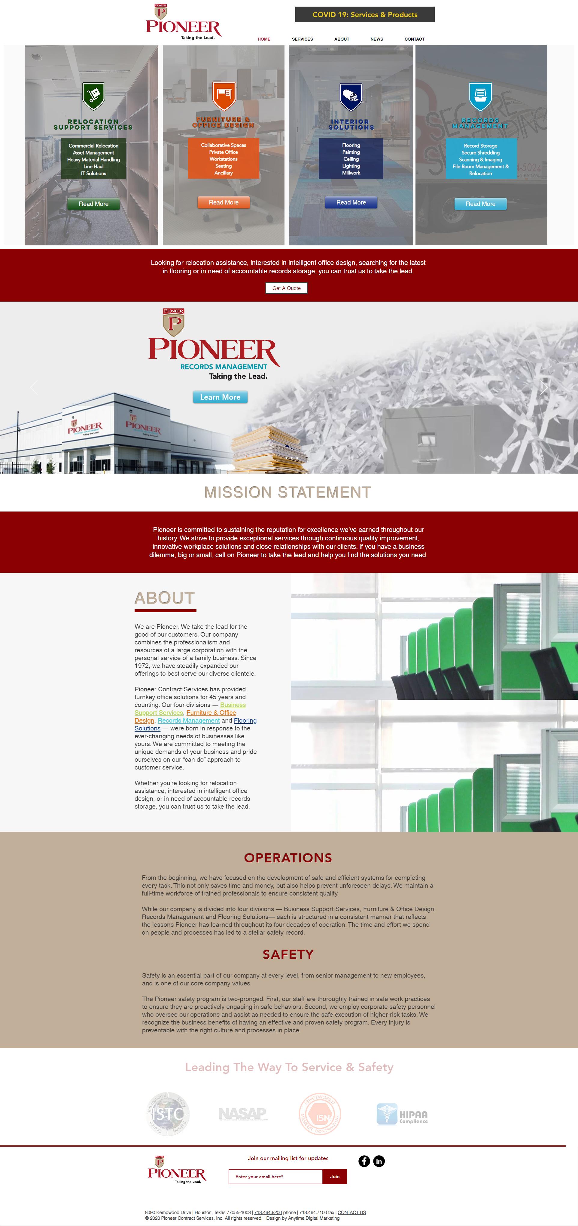 Pioneer Contract website design