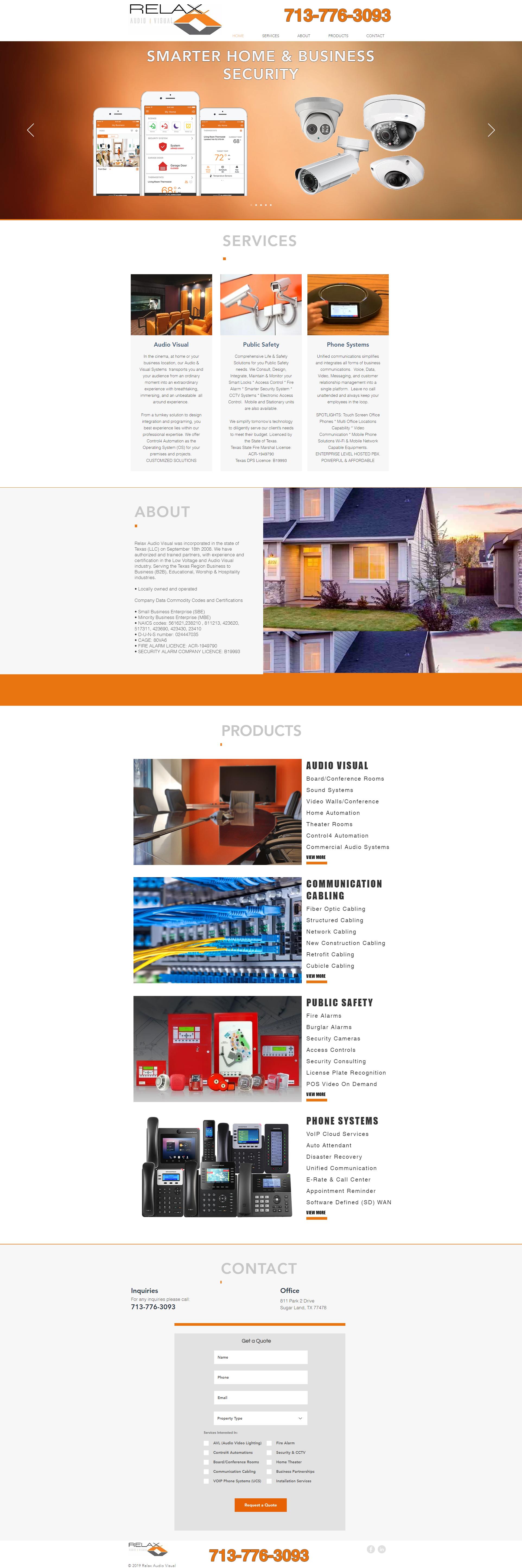 Relax Audio Visual website design