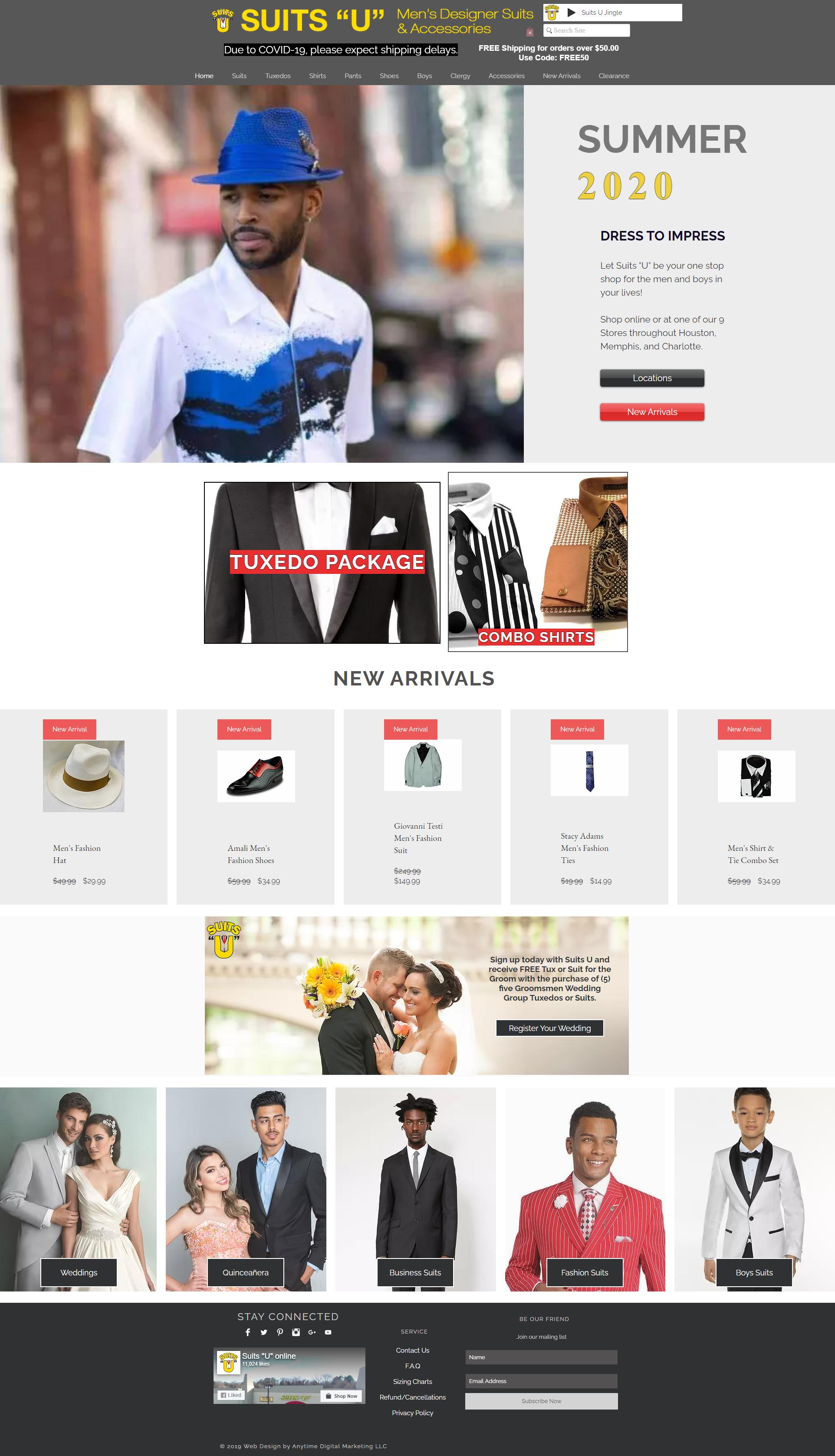 Suits U ecommerce website design
